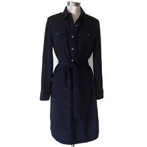 Talbot Navy Roll Tab Crepe Shirtwaist Midi Dress 8